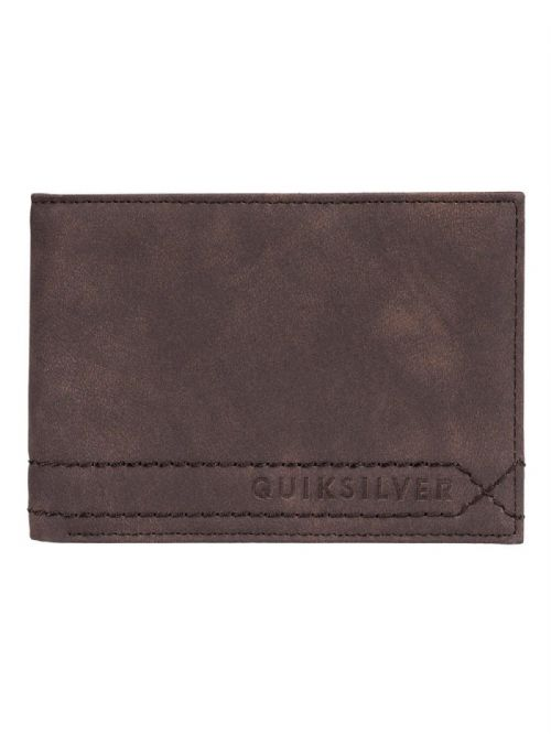 QUIKSILVER MENS WALLET.NEW STITCHY FAUX LEATHER BROWN MONEY CARD PURSE 9S 75 CSD